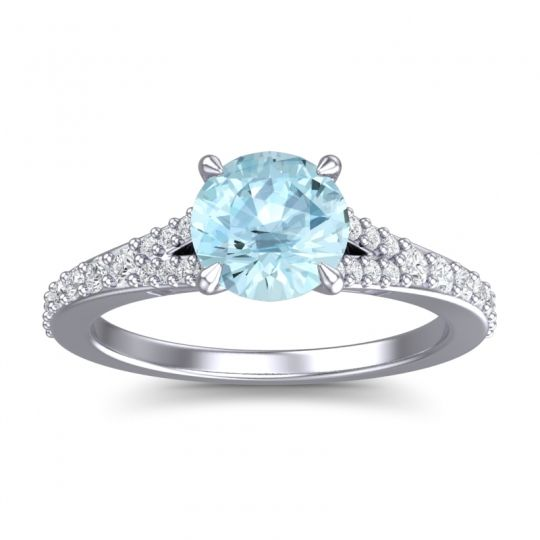 Aquamarine Cathedral Hanu Ring with Diamond in 14k White Gold