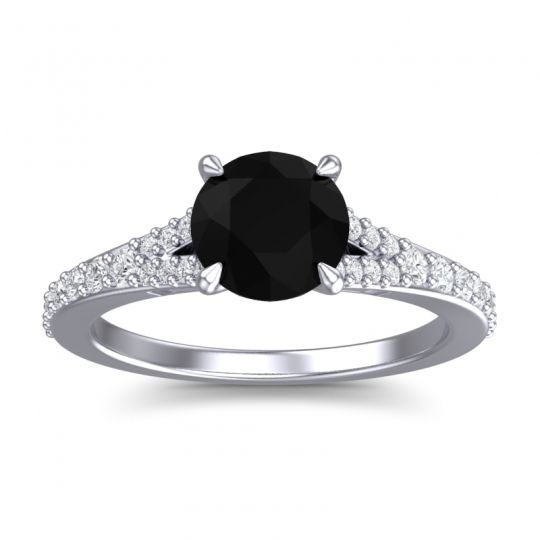 Black Onyx Cathedral Hanu Ring with Diamond in 18k White Gold