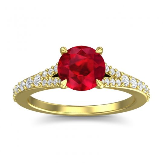 Ruby Cathedral Hanu Ring with Diamond in 18k Yellow Gold