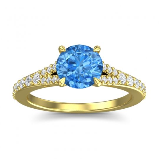 Swiss Blue Topaz Cathedral Hanu Ring with Diamond in 18k Yellow Gold