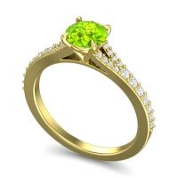 Peridot Cathedral Hanu Ring with Diamond in 18k Yellow Gold