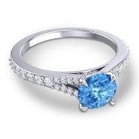Swiss Blue Topaz Cathedral Hanu Ring with Diamond in Platinum