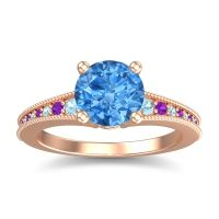 Swiss Blue Topaz Classic Pave Vati Ring with Aquamarine and Amethyst in 18K Rose Gold
