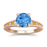 Swiss Blue Topaz Classic Pave Vati Ring with Aquamarine and Citrine in 14K Rose Gold