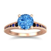 Swiss Blue Topaz Classic Pave Vati Ring with Black Onyx and Blue Sapphire in 14K Rose Gold