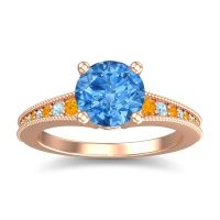 Swiss Blue Topaz Classic Pave Vati Ring with Citrine and Aquamarine in 18K Rose Gold