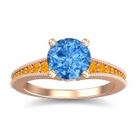Swiss Blue Topaz Classic Pave Vati Ring with Citrine in 14K Rose Gold