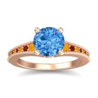 Swiss Blue Topaz Classic Pave Vati Ring with Citrine and Garnet in 18K Rose Gold