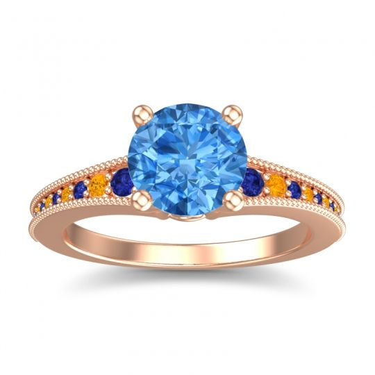 Swiss Blue Topaz Classic Pave Vati Ring with Blue Sapphire and Citrine in 14K Rose Gold