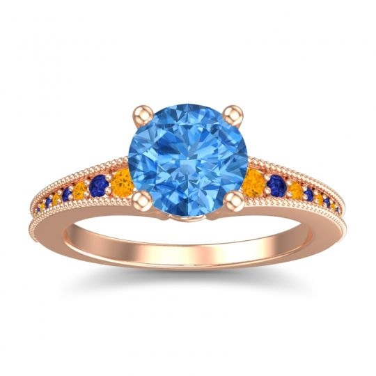 Swiss Blue Topaz Classic Pave Vati Ring with Citrine and Blue Sapphire in 14K Rose Gold