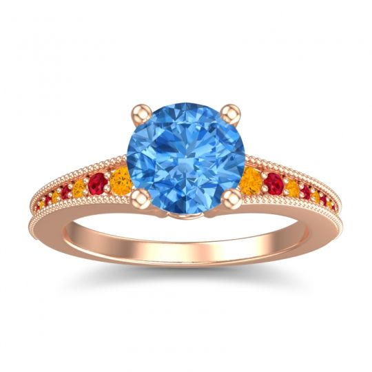 Swiss Blue Topaz Classic Pave Vati Ring with Citrine and Ruby in 14K Rose Gold