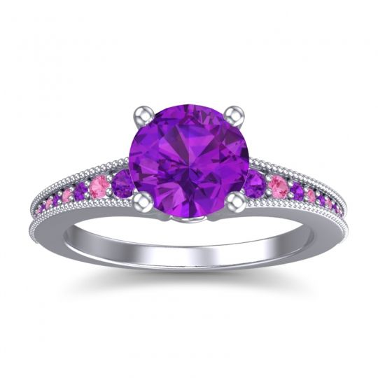 Amethyst Classic Pave Vati Ring with Pink Tourmaline in 14k White Gold