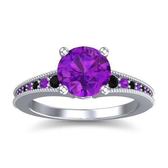 Amethyst Classic Pave Vati Ring with Black Onyx in 18k White Gold