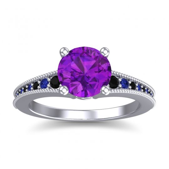 Amethyst Classic Pave Vati Ring with Black Onyx and Blue Sapphire in 18k White Gold