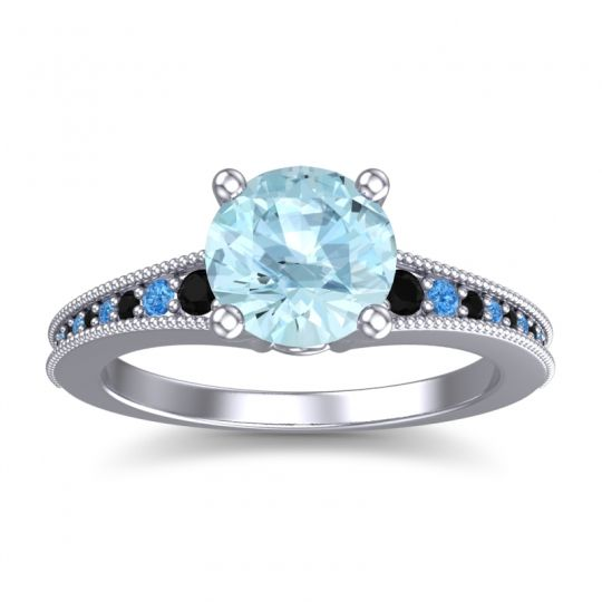 Aquamarine Classic Pave Vati Ring with Black Onyx and Swiss Blue Topaz in 18k White Gold