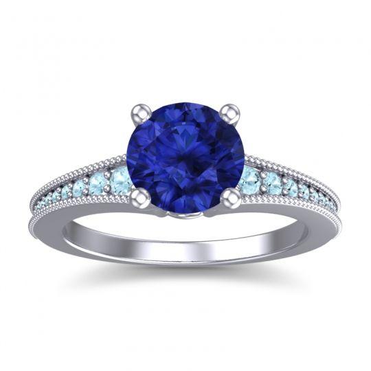 Blue Sapphire Classic Pave Vati Ring with Aquamarine in Palladium