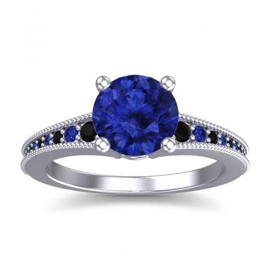 Blue Sapphire Classic Pave Vati Ring with Black Onyx in 18k White Gold