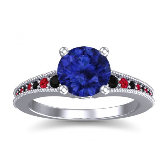 Blue Sapphire Classic Pave Vati Ring with Black Onyx and Ruby in 18k White Gold