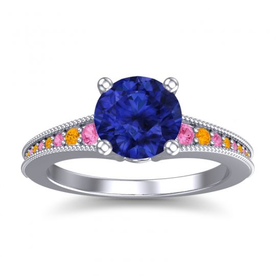 Blue Sapphire Classic Pave Vati Ring with Pink Tourmaline and Citrine in Palladium
