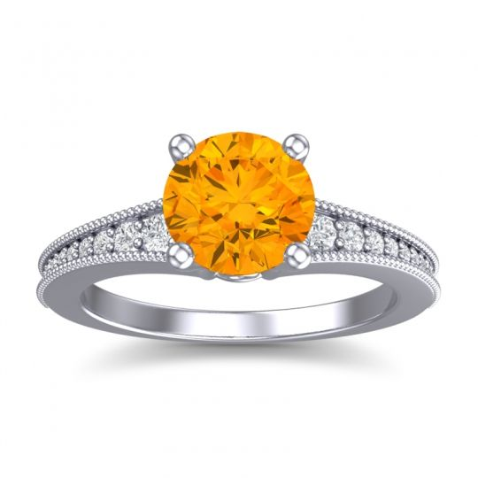 Citrine Classic Pave Vati Ring with Diamond in 14k White Gold