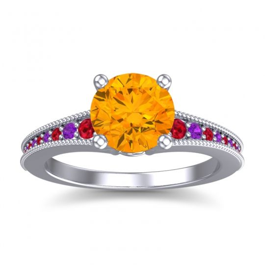 Citrine Classic Pave Vati Ring with Ruby and Amethyst in 18k White Gold