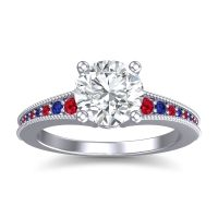 Diamond Classic Pave Vati Ring with Ruby and Blue Sapphire in 18k White Gold