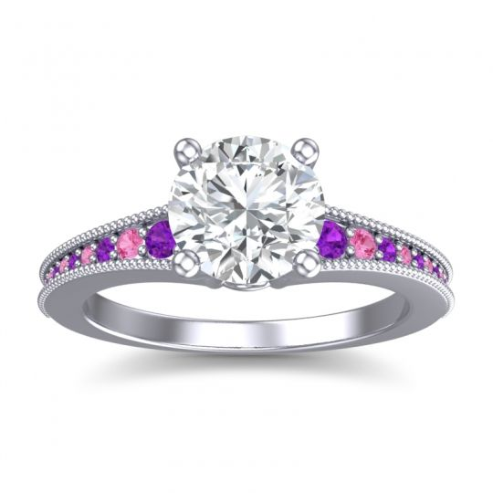 Diamond Classic Pave Vati Ring with Amethyst and Pink Tourmaline in 14k White Gold