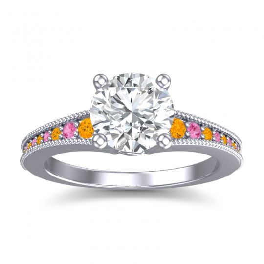 Diamond Classic Pave Vati Ring with Citrine and Pink Tourmaline in 14k White Gold