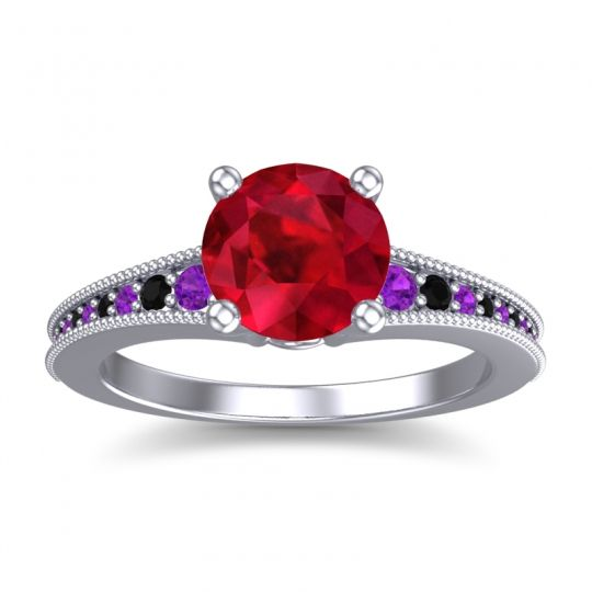 Ruby Classic Pave Vati Ring with Amethyst and Black Onyx in 14k White Gold