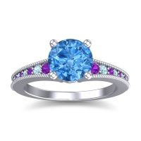 Swiss Blue Topaz Classic Pave Vati Ring with Amethyst and Aquamarine in 14k White Gold