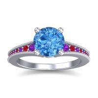 Swiss Blue Topaz Classic Pave Vati Ring with Amethyst and Ruby in 18k White Gold