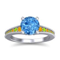 Swiss Blue Topaz Classic Pave Vati Ring with Citrine and Peridot in 18k White Gold