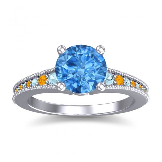 Swiss Blue Topaz Classic Pave Vati Ring with Aquamarine and Citrine in 14k White Gold