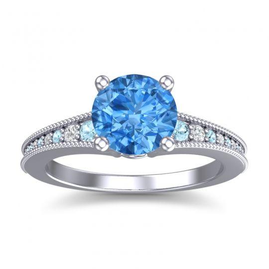 Swiss Blue Topaz Classic Pave Vati Ring with Aquamarine and Diamond in 14k White Gold