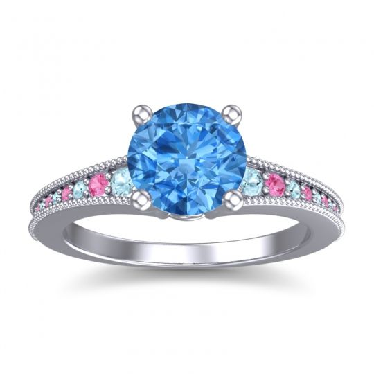 Swiss Blue Topaz Classic Pave Vati Ring with Aquamarine and Pink Tourmaline in 14k White Gold