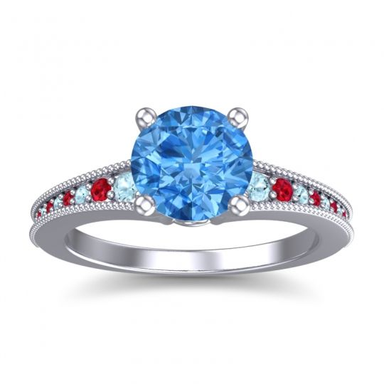 Swiss Blue Topaz Classic Pave Vati Ring with Aquamarine and Ruby in Palladium