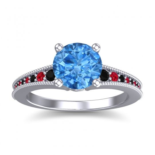 Swiss Blue Topaz Classic Pave Vati Ring with Black Onyx and Ruby in Palladium