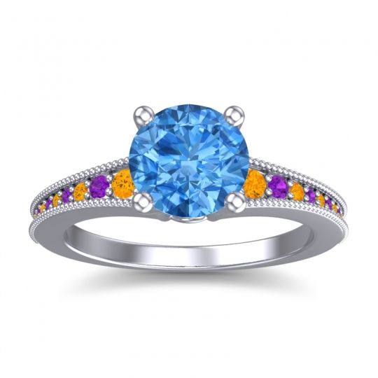 Swiss Blue Topaz Classic Pave Vati Ring with Citrine and Amethyst in 18k White Gold