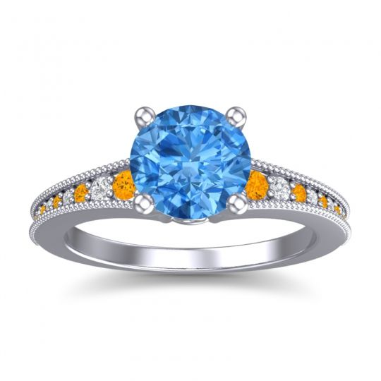 Swiss Blue Topaz Classic Pave Vati Ring with Citrine and Diamond in 18k White Gold