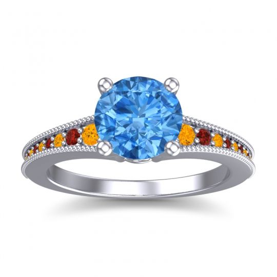 Swiss Blue Topaz Classic Pave Vati Ring with Citrine and Garnet in Platinum