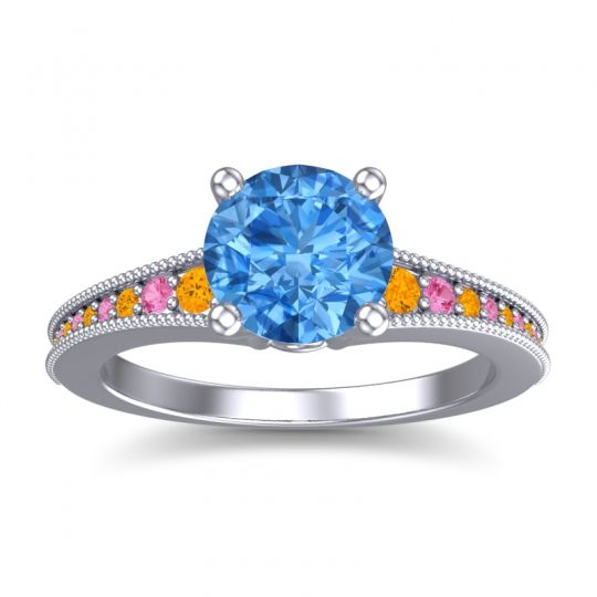 Swiss Blue Topaz Classic Pave Vati Ring with Citrine and Pink Tourmaline in 14k White Gold