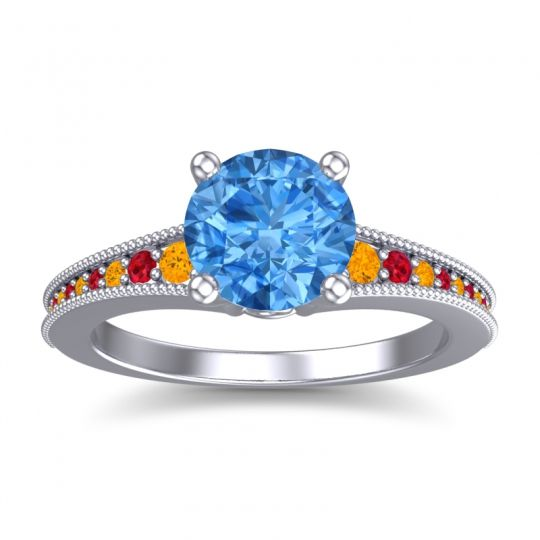 Swiss Blue Topaz Classic Pave Vati Ring with Citrine and Ruby in Platinum