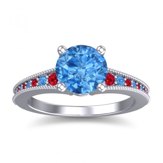 Swiss Blue Topaz Classic Pave Vati Ring with Ruby in 18k White Gold