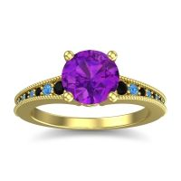Amethyst Classic Pave Vati Ring with Black Onyx and Swiss Blue Topaz in 18k Yellow Gold
