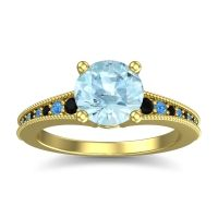 Aquamarine Classic Pave Vati Ring with Black Onyx and Swiss Blue Topaz in 18k Yellow Gold