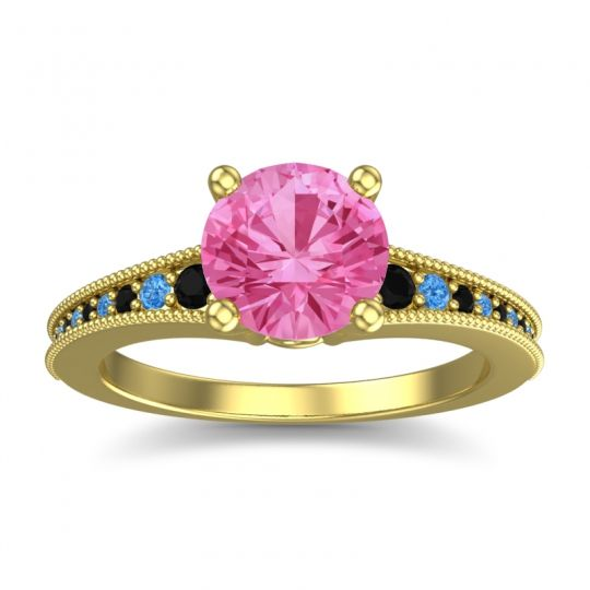 Pink Tourmaline Classic Pave Vati Ring with Black Onyx and Swiss Blue Topaz in 18k Yellow Gold