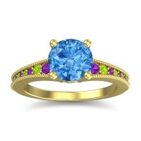 Swiss Blue Topaz Classic Pave Vati Ring with Amethyst and Peridot in 18k Yellow Gold