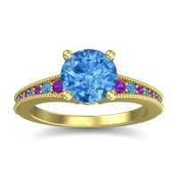 Swiss Blue Topaz Classic Pave Vati Ring with Amethyst in 18k Yellow Gold