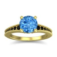 Swiss Blue Topaz Classic Pave Vati Ring with Black Onyx in 18k Yellow Gold