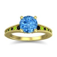 Swiss Blue Topaz Classic Pave Vati Ring with Black Onyx and Peridot in 18k Yellow Gold